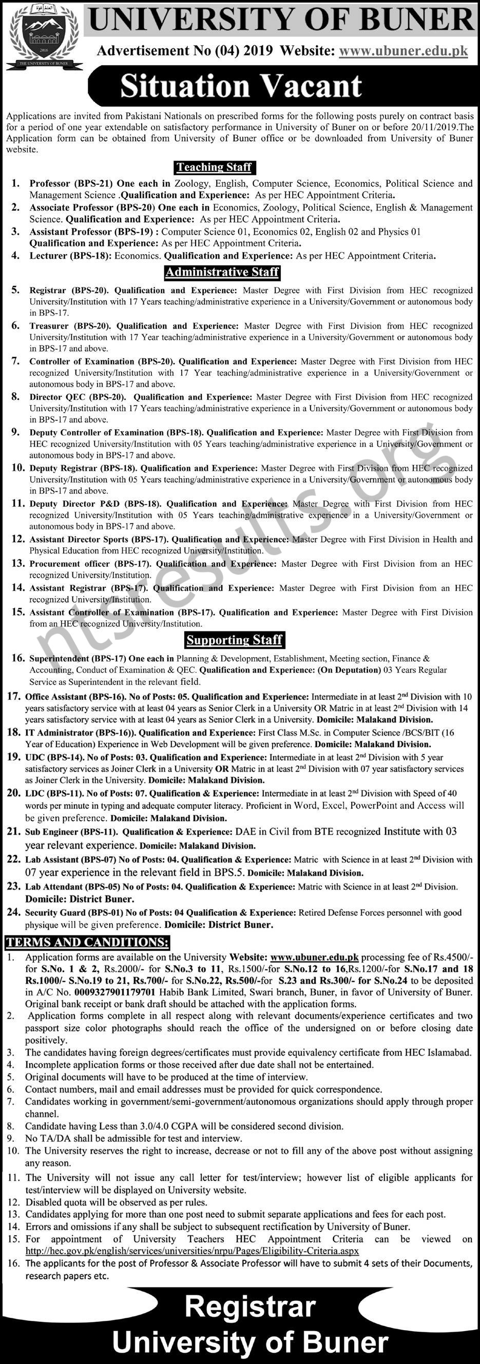 University of Buner Jobs UOB Teaching and Administrative BPS 01 To BPS 21