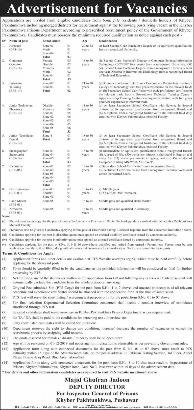 Prisons Department KPK Jobs PTS Test Roll No Slip