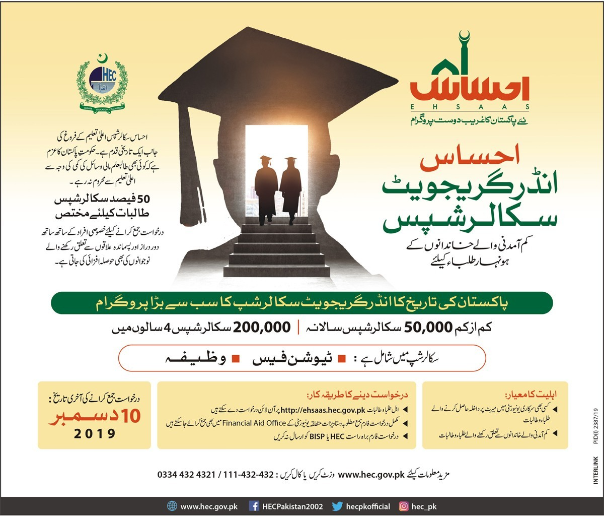 Ehsaas undergraduate scholarship program Test Roll No Slip