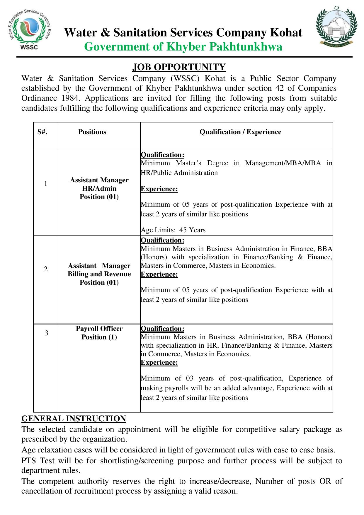 Water Sanitation Services Company WSSC Kohat Jobs PTS Test Result
