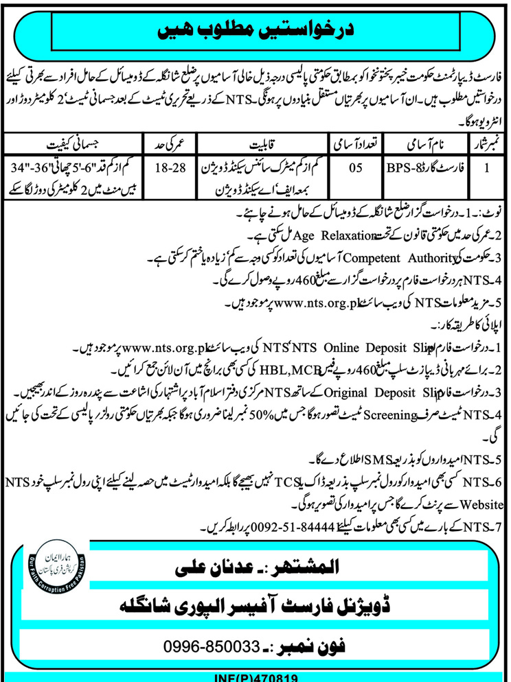 Alpuri Forest Division Shangla Jobs NTS Test Answer Keys Result