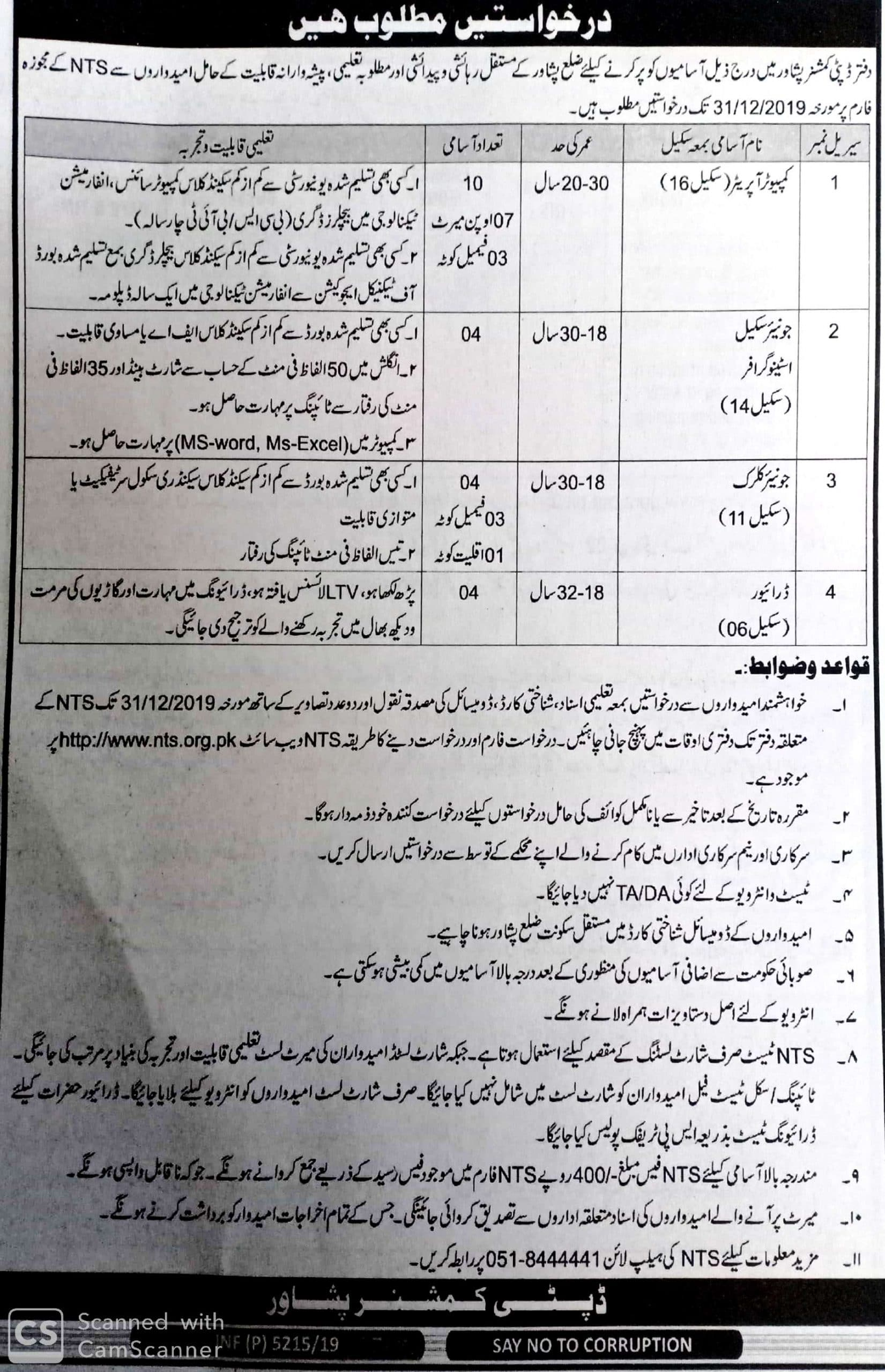 Deputy Commissioner Office Peshawar Jobs NTS Result Answer Keys