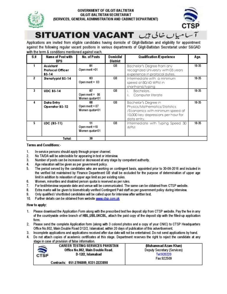 Services General Administration And Cabinet Department Jobs CTSP Answer Keys Result