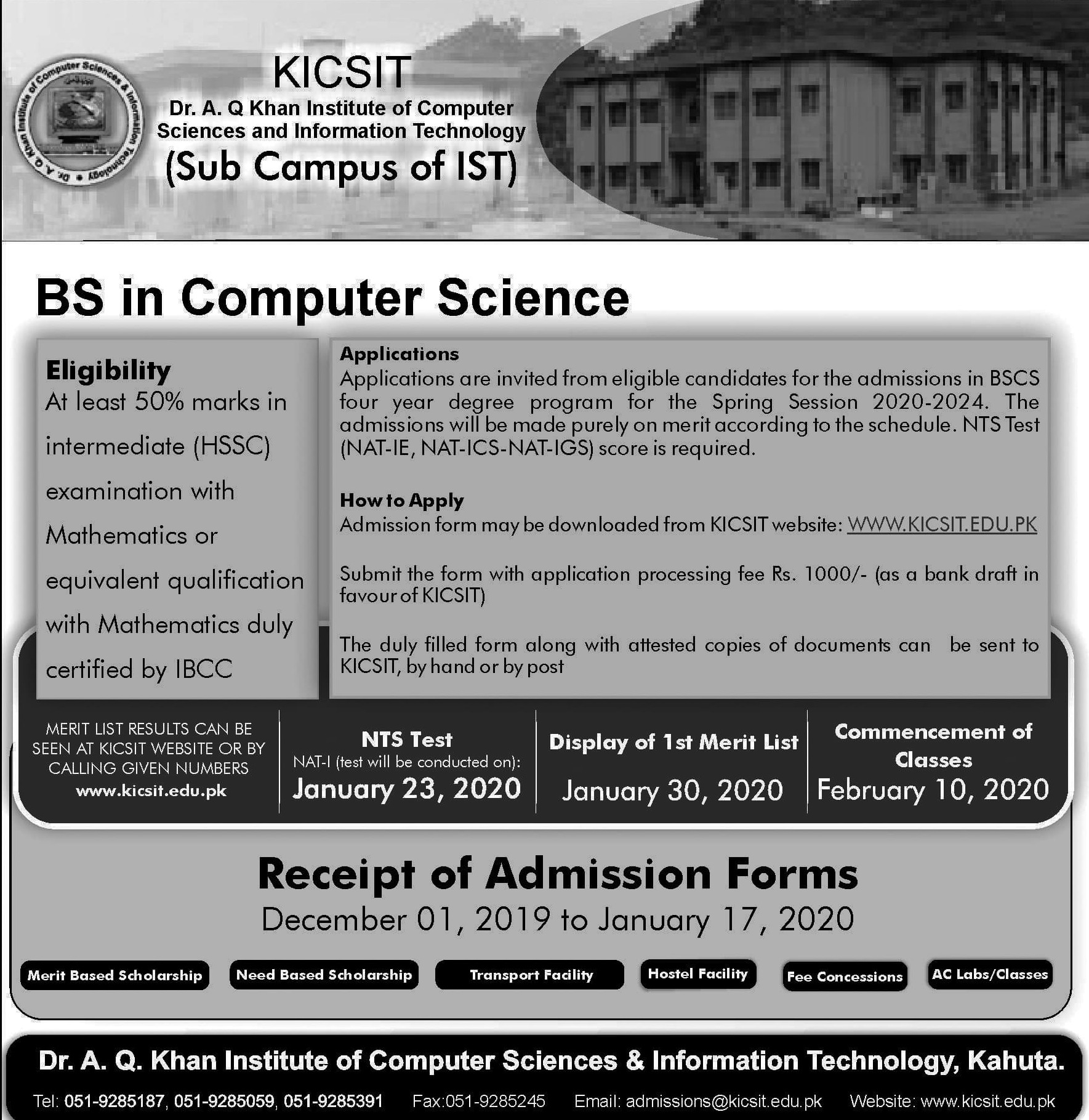 KICSIT Admission Spring 2020 NTS Test Result  Dr. A.Q Khan Institute of Computer Sciences and Information Technology
