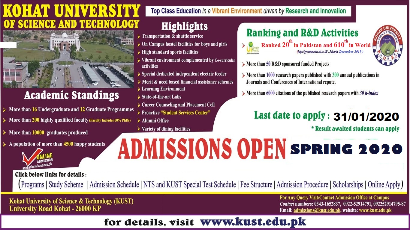 KUST Spring 2020 Admissions NTS Roll No Slip