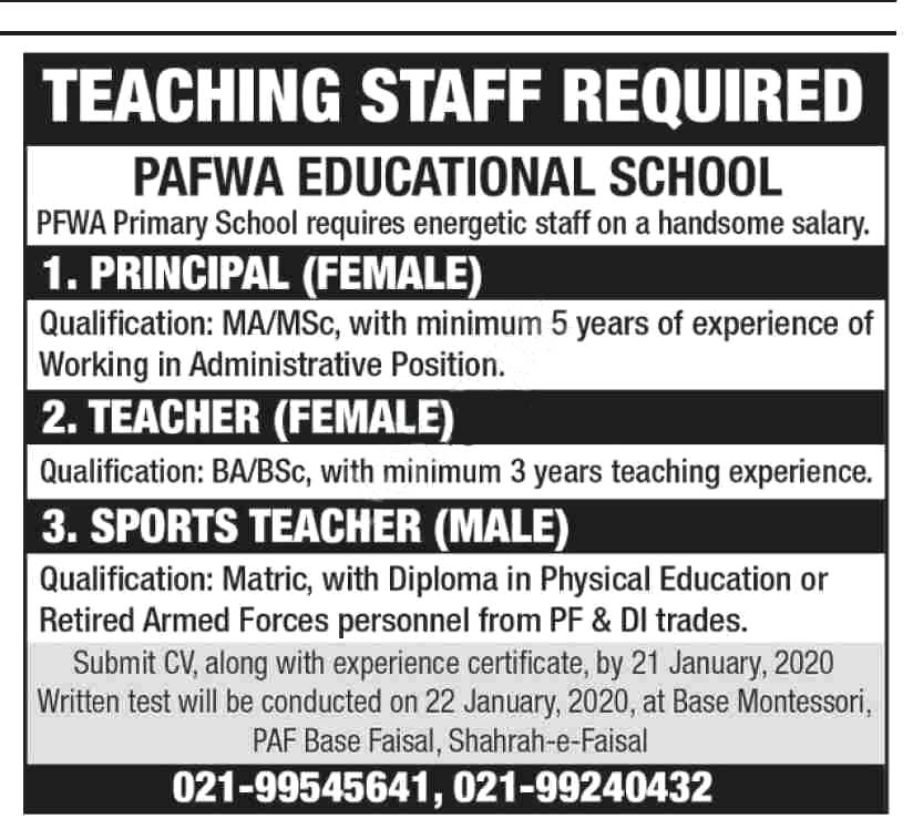 PAFWA Educational System Written Test Result