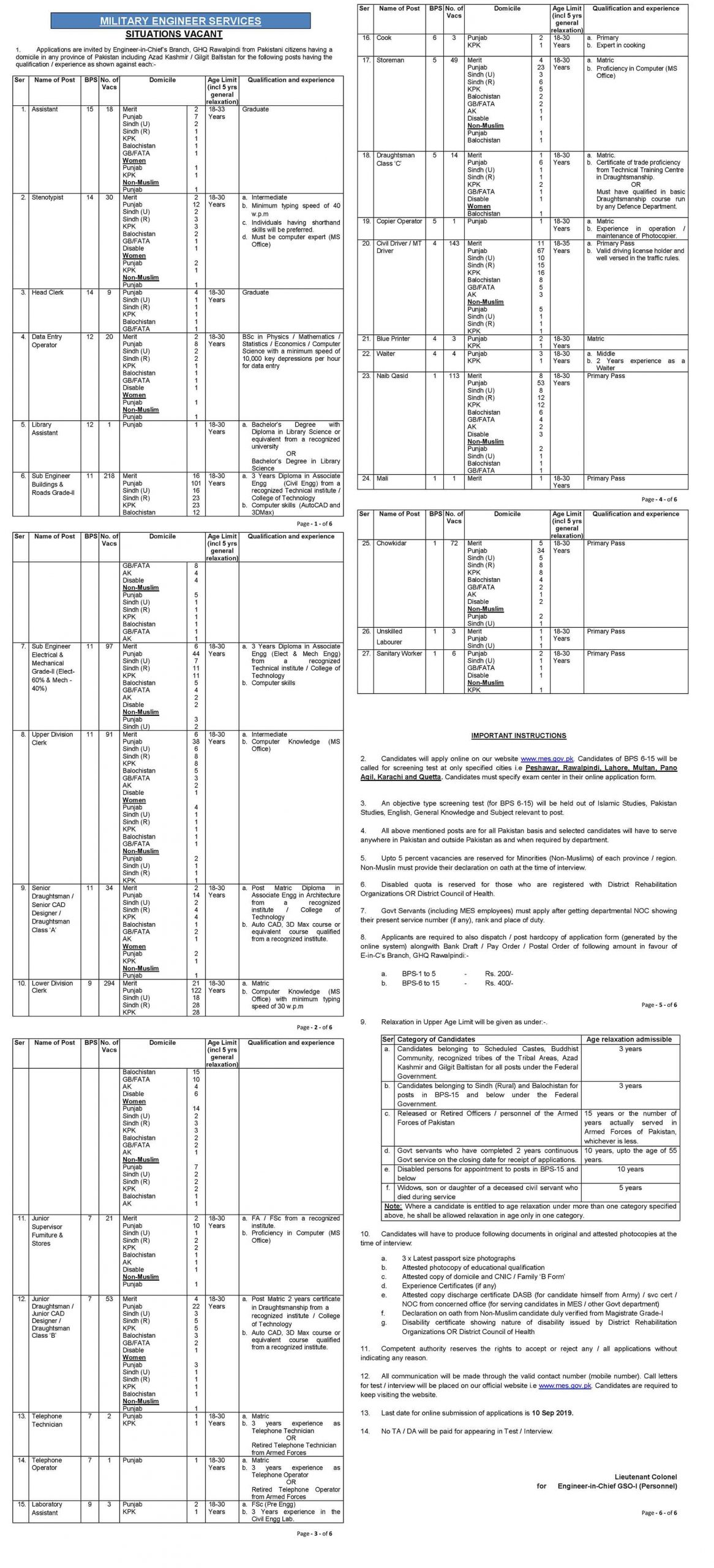 Military Engineer Services Jobs MES Result