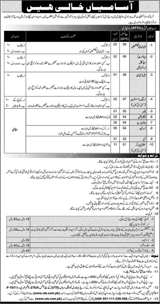 Armed Forces Institute of Urology Rawalpindi AFIU Jobs UTS Result