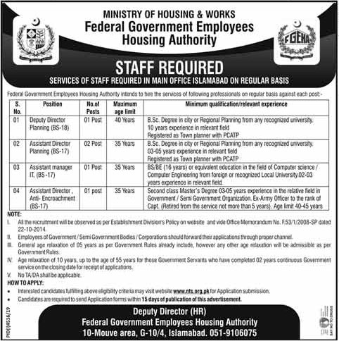 Federal Govt Employees Housing Foundation FGEHF Jobs NTS Roll No Slip