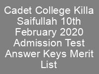 CCKS Class 7th Admissions CTSP Answer Keys Result