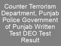 Counter Terrorism Department CTD Punjab Police DEO Jobs NTS Answer Keys Result