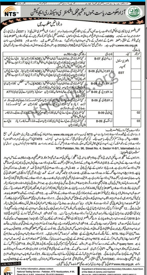 Elementary Secondary Education Department AJK Jobs NTS Roll No Slip