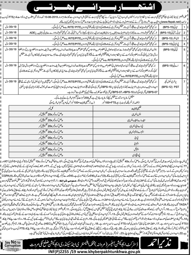KPK Education Ministry Jobs FTS Roll No Slip