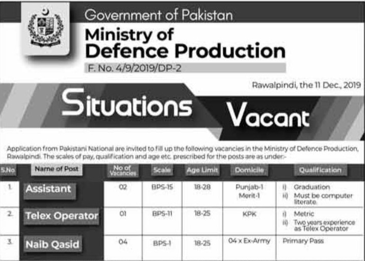 MOD Ministry Of Defence Production Jobs CTS Result