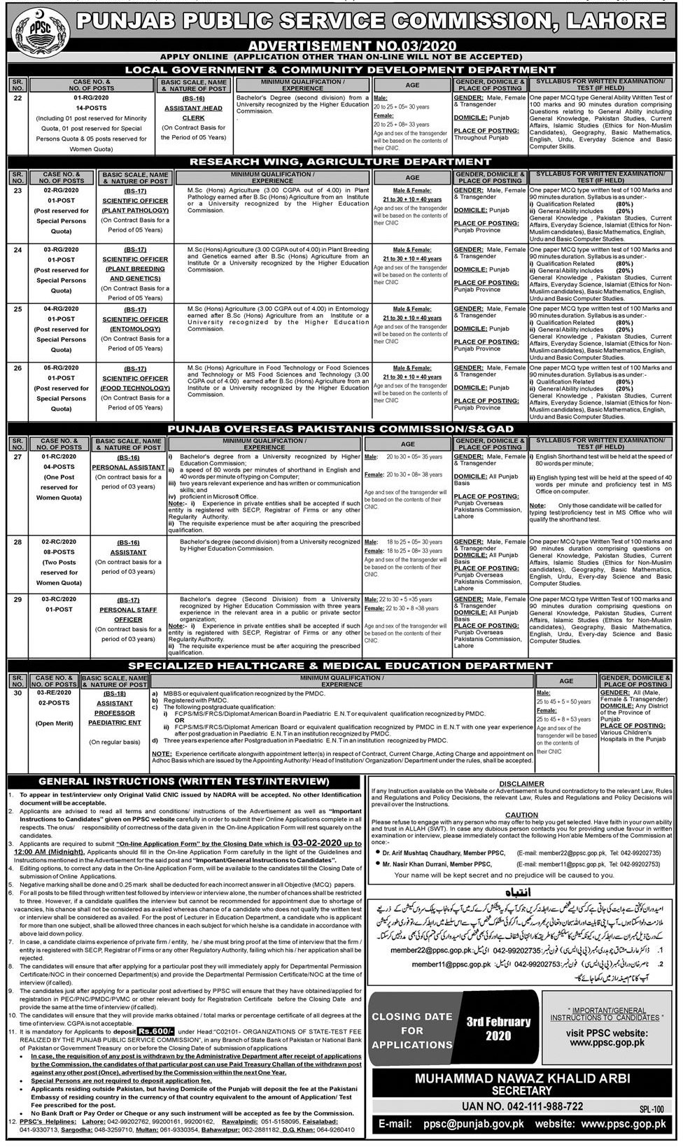 Punjab Public Service Commission 19th January Jobs PPSC Roll No Slip