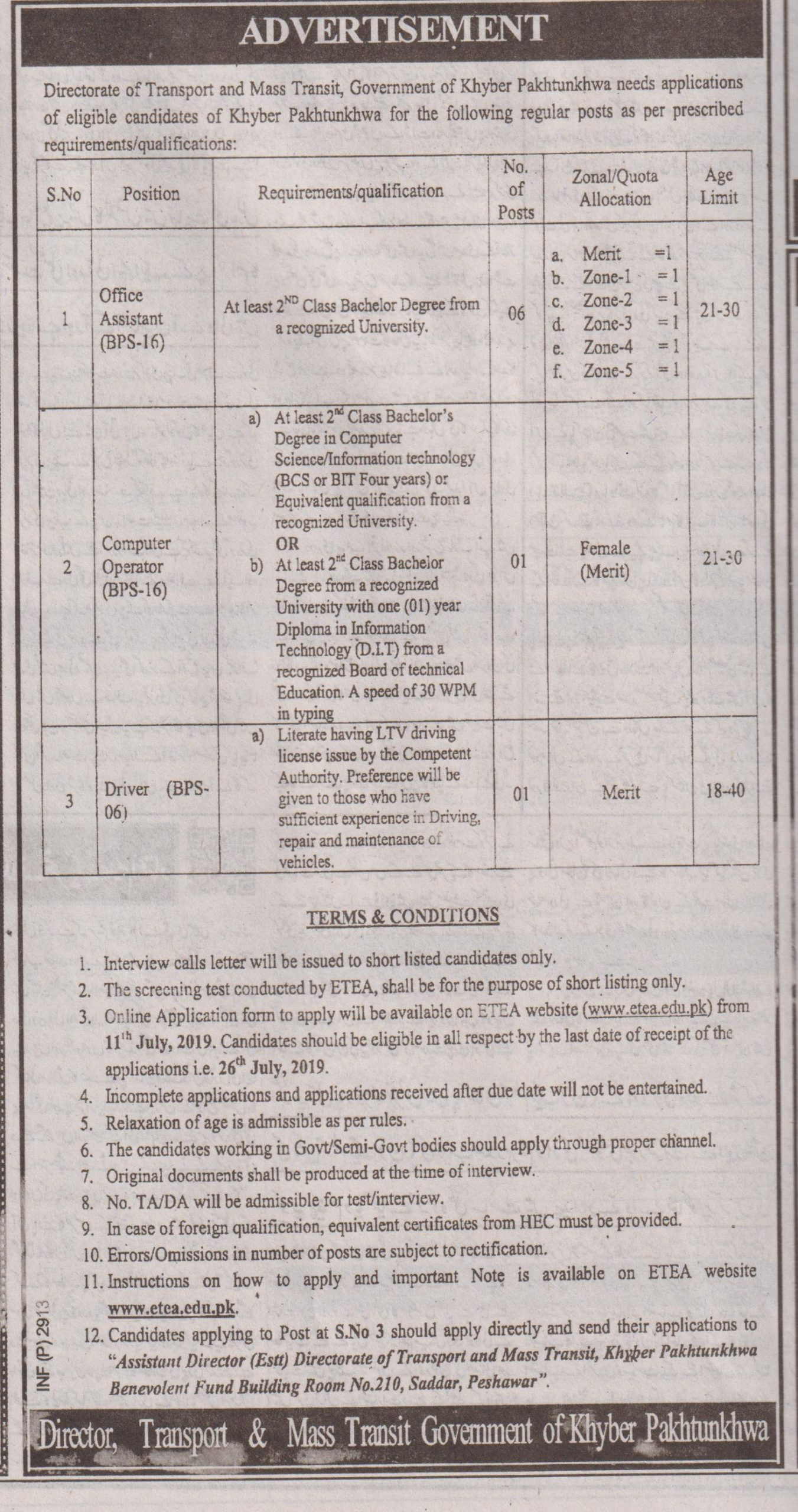 Directorate of Transport and Mass Transit Jobs ETEA Result