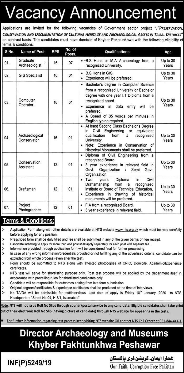 Directorate of Archaeology Museums KPK Jobs NTS Answer Keys Result