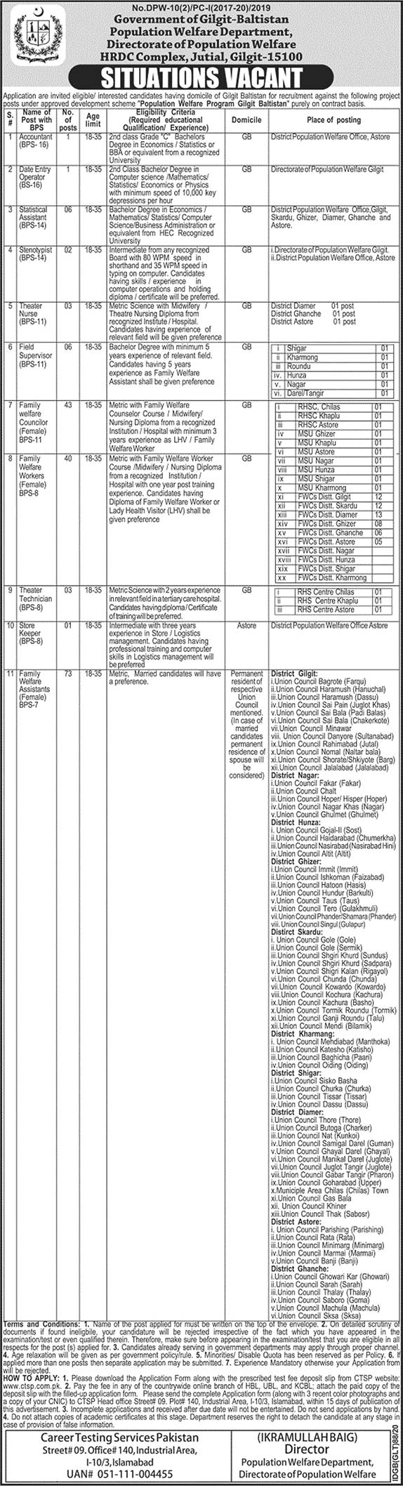 Population Welfare Department Gilgit Baltistan Jobs CTSP Roll No Slip