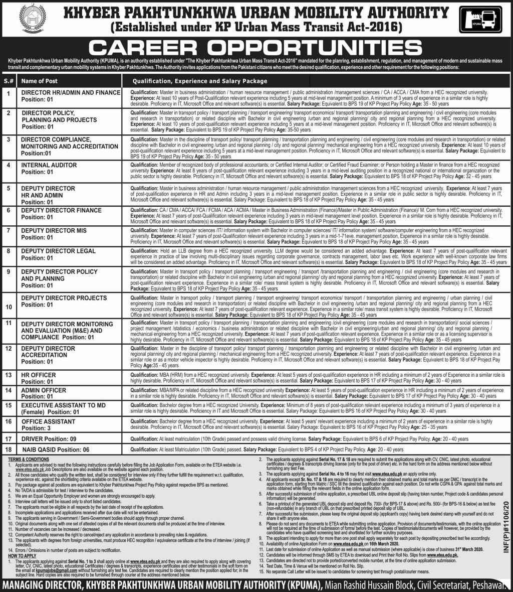 KPK Urban Mobility Authority KPUMA Jobs ETEA Roll No Slip