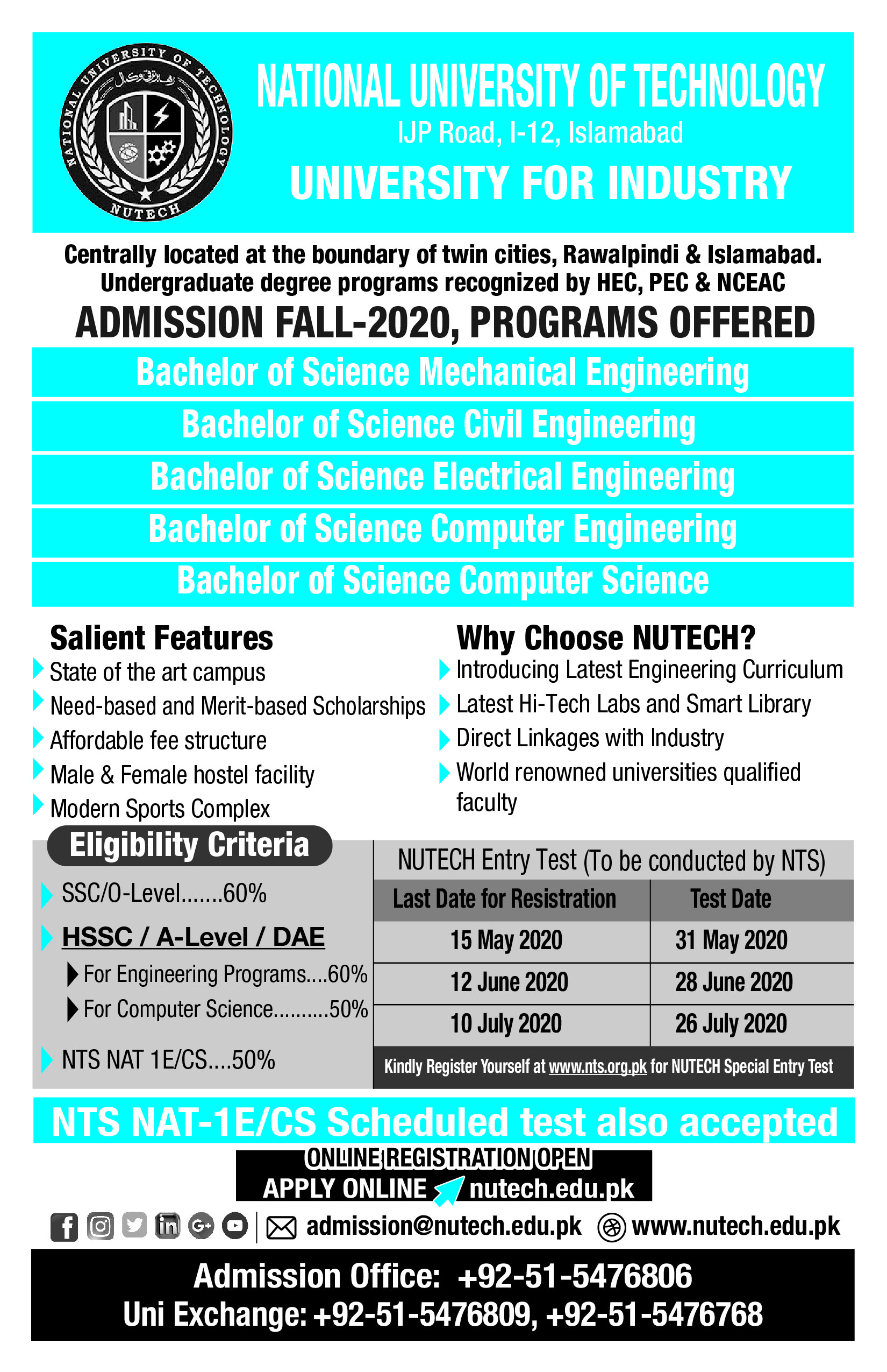 National University of Technology NUTECH Admissions NTS Roll No Slip