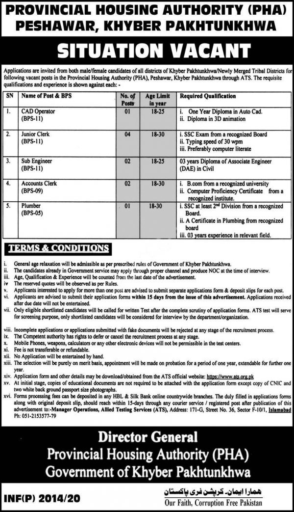 Provincial Housing Authority PHA KPK Jobs ATS Roll No Slip