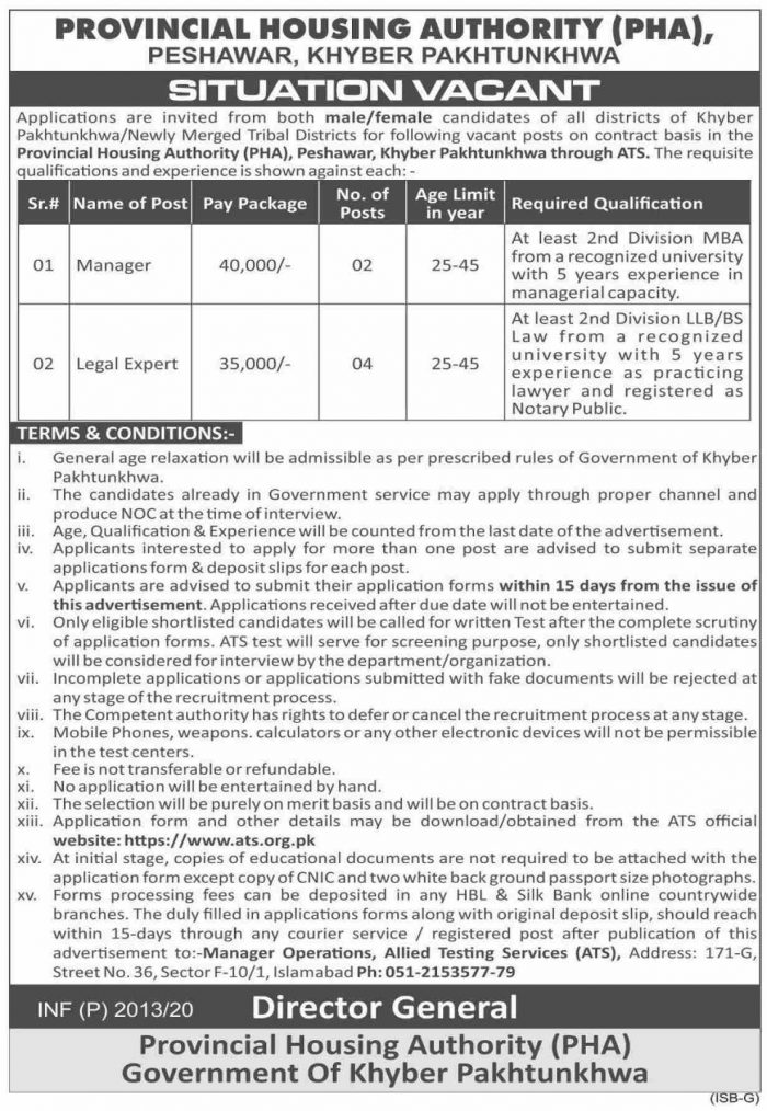 Provincial Housing Authority KPK Jobs ATS Roll No Slip
