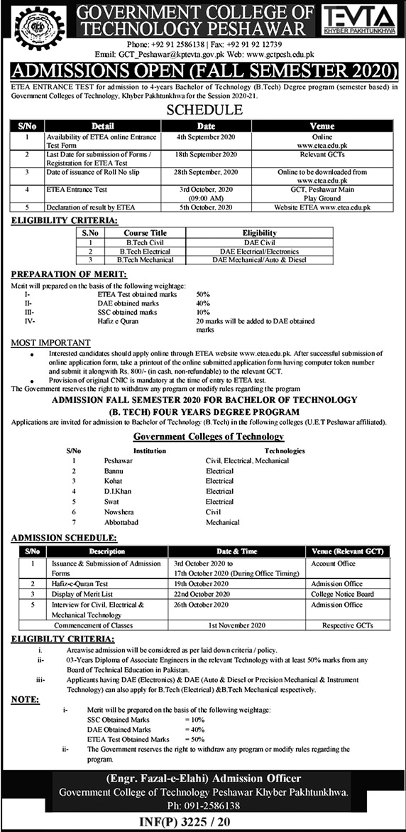 Government Colleges of Technology Peshawar Admission ETEA Roll No Slip