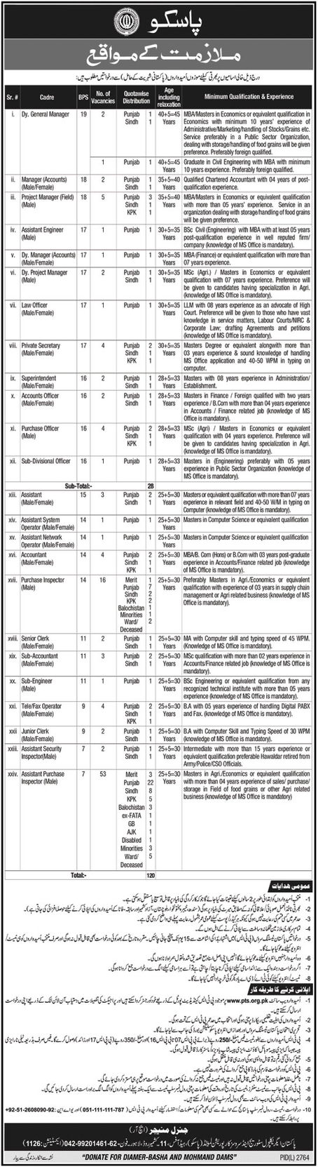 Pakistan Agricultural Storage Services PASSCO Jobs PTS Result