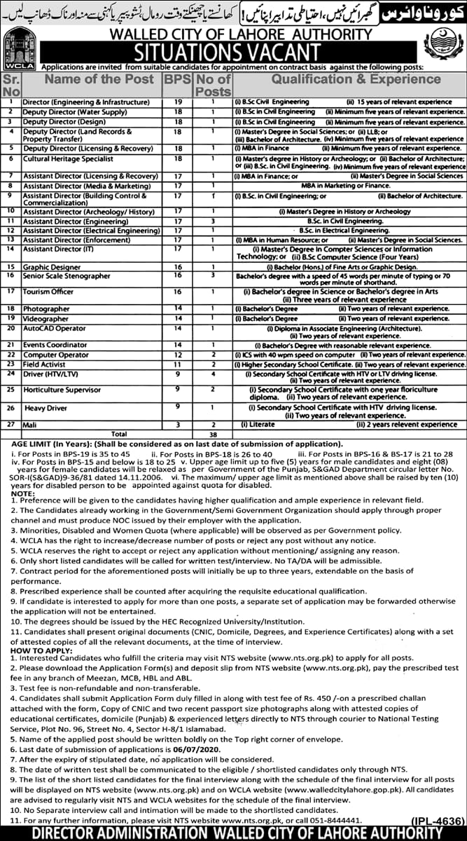 Walled City of Lahore Authority Jobs NTS Result