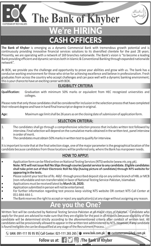 Bok Bank of Khyber MTOs Cash Officers Jobs NTS Result
