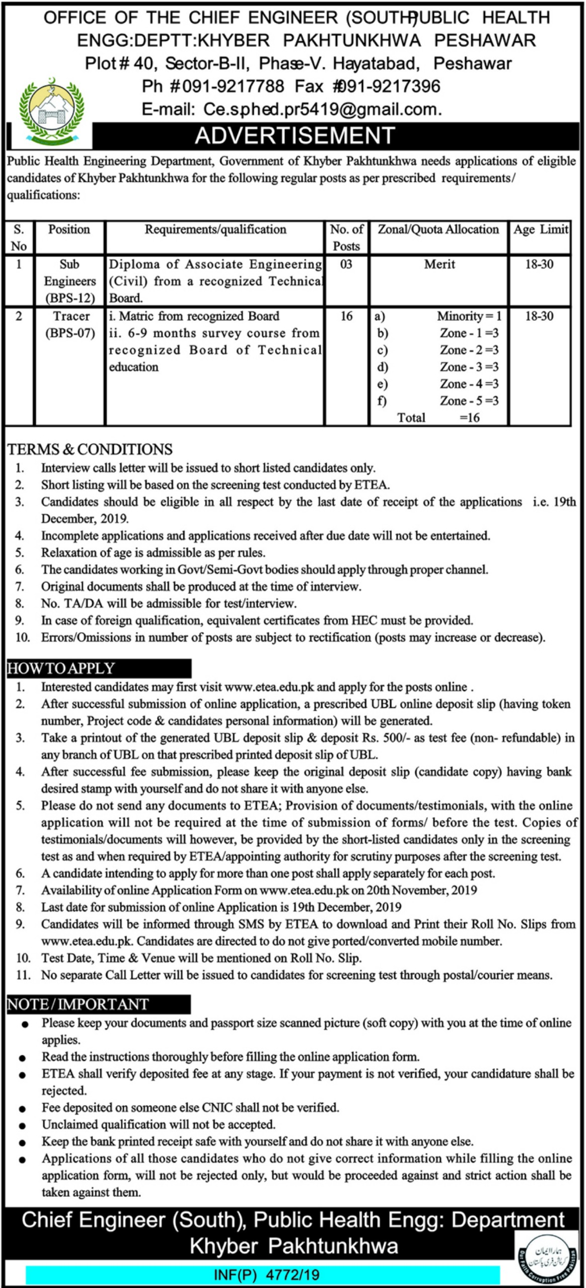 Public Health Engineering Department PHED Jobs ETEA Roll No Slip