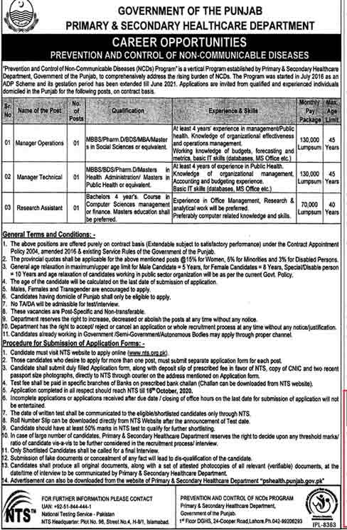 Primary Secondary Health Care Department Jobs NTS Roll No Slip