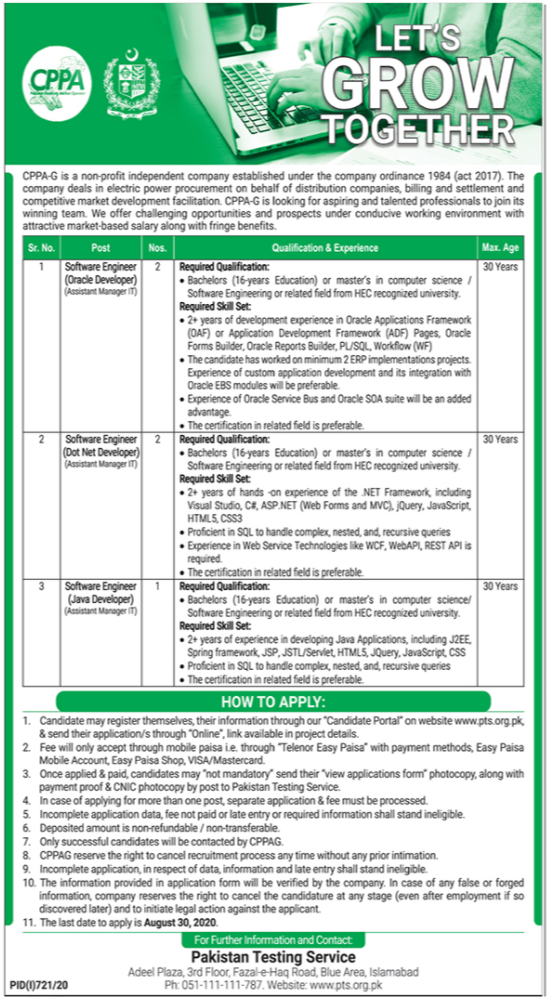Central Power Purchasing Agency CPPA Jobs PTS Result