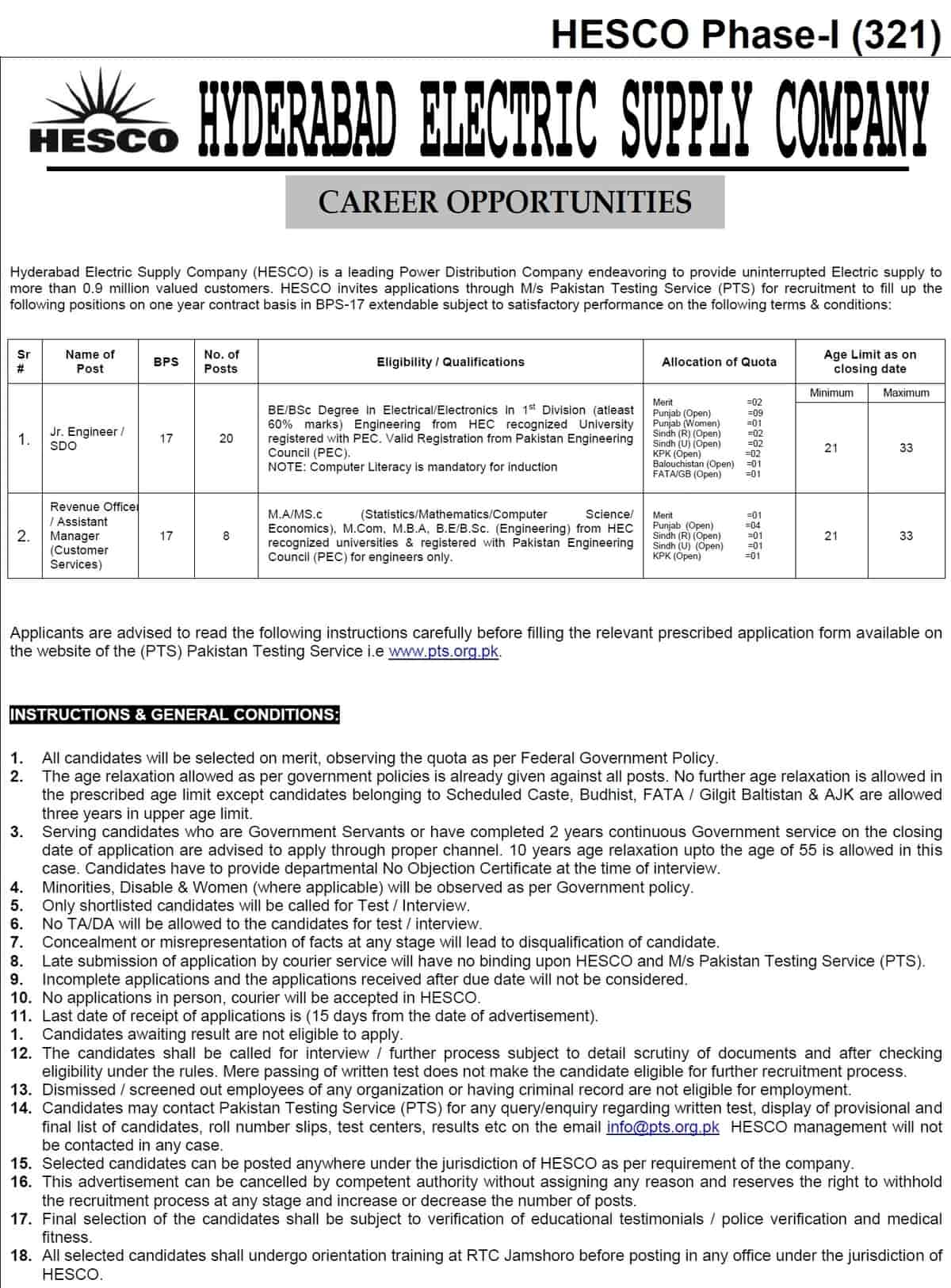 Hyderabad Electric Supply Company HESCO Jobs PTS Result