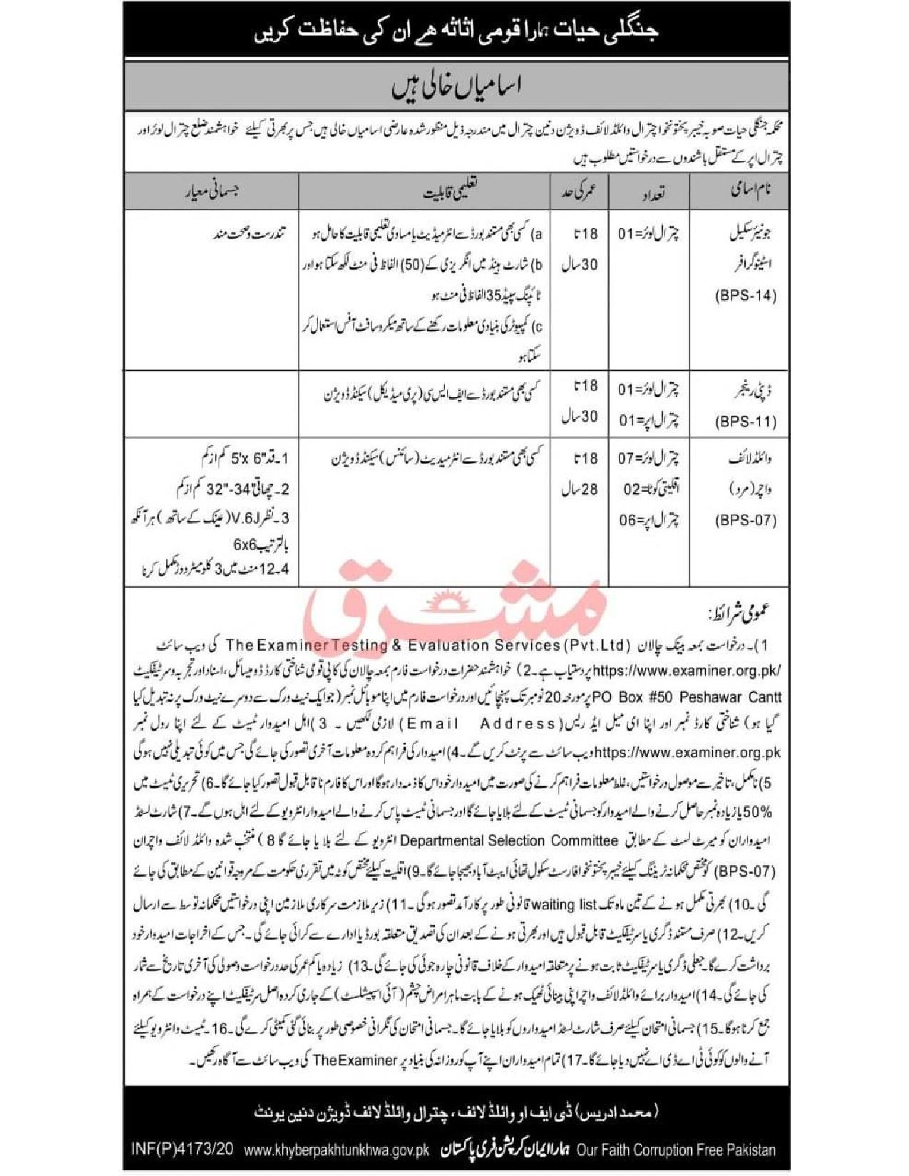 Divisional Forest Officer Chitral Wildlife Division Jobs ETES Roll No Slip