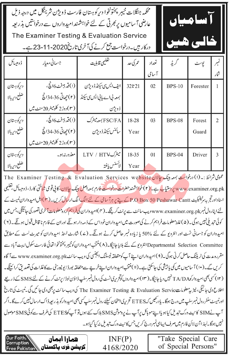 Divisional Forest Officer Office Kohistan Sheringal Jobs Via ETES