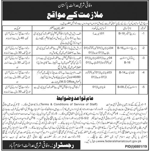 Federal Shariat Court Pakistan Jobs OTS Roll No Slip