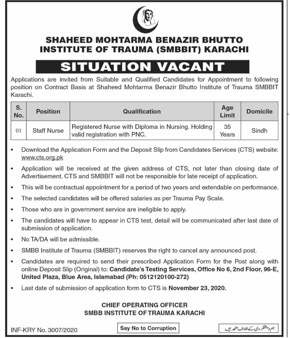 Shaeed Mohtarma Benazir Bhutto Institute Of Trauma Jobs CTS Result