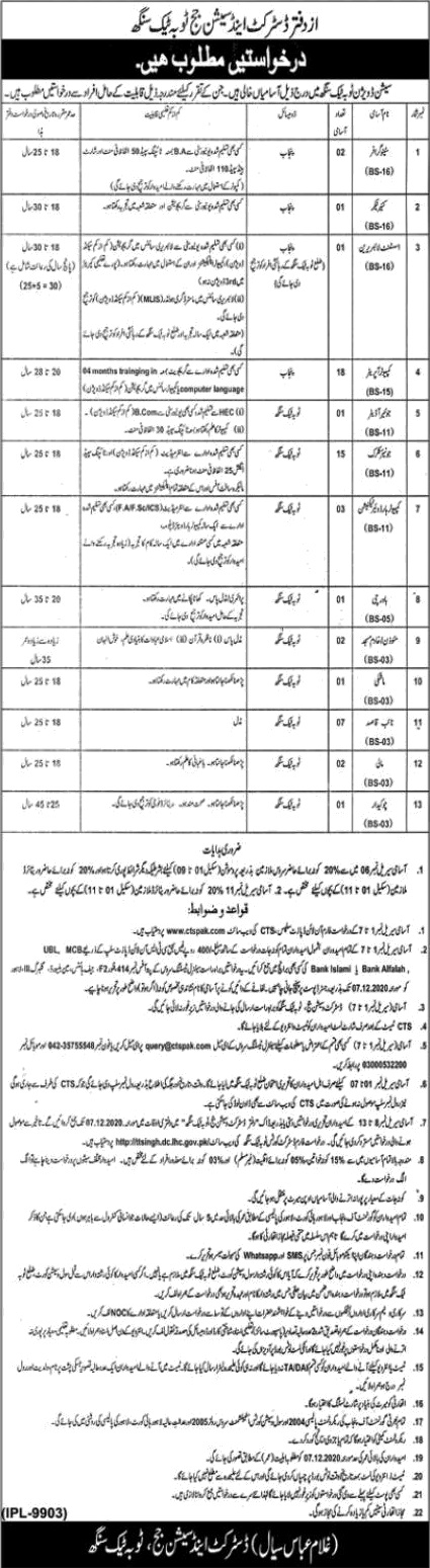 District Session Judge Toba Tek Singh Jobs CTSPAK Result