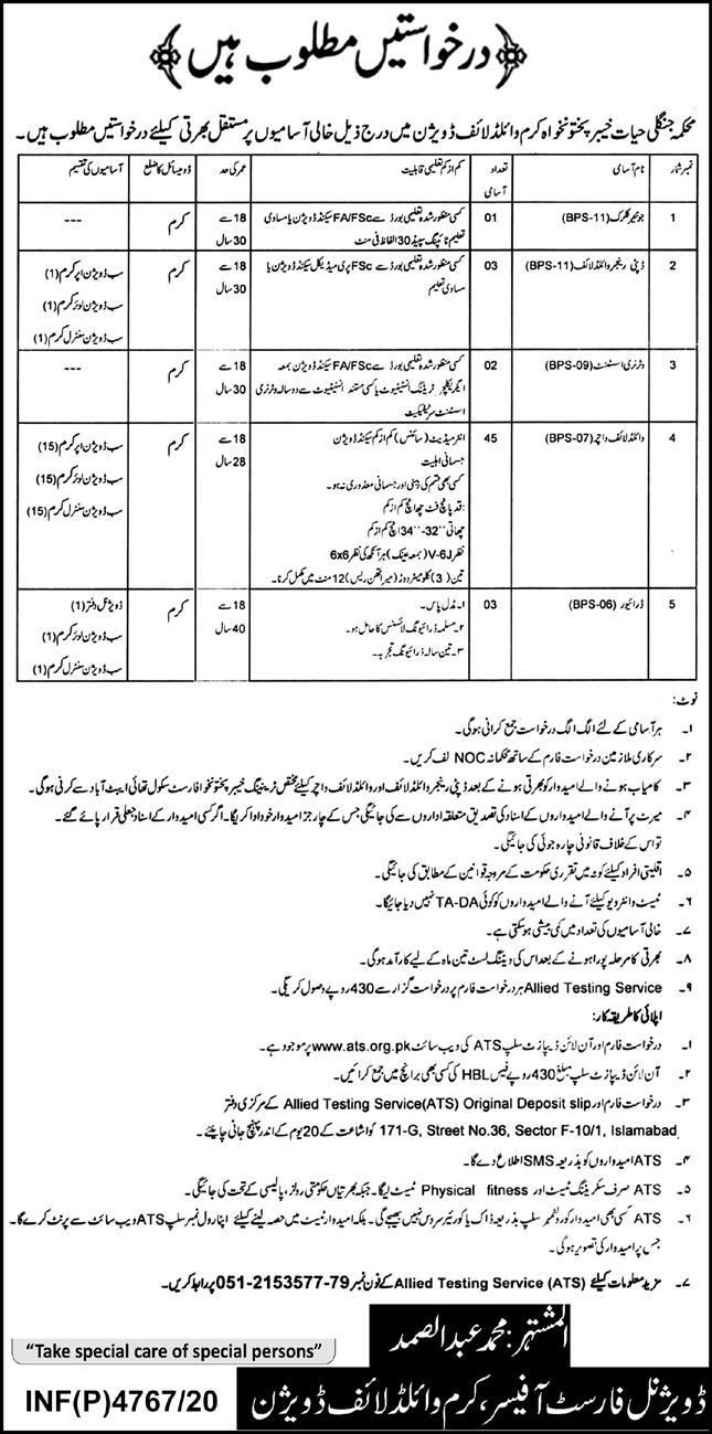 Wildlife Division Kurram Jobs ATS Test Roll No Slip