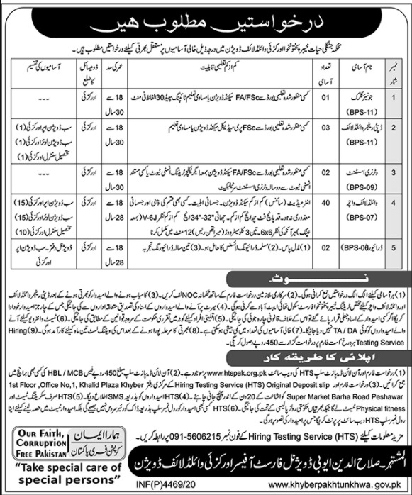Divisional Forest Officer Orakzai Wildlife Division Jobs HTS Roll No Slip