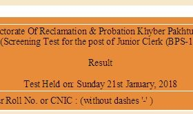 NTS Result For Directorate Of Reclamation Probation