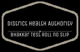 District Health Authority DHA Bhakkar NTS Test Sunday 22nd April 2018 Roll no Slip