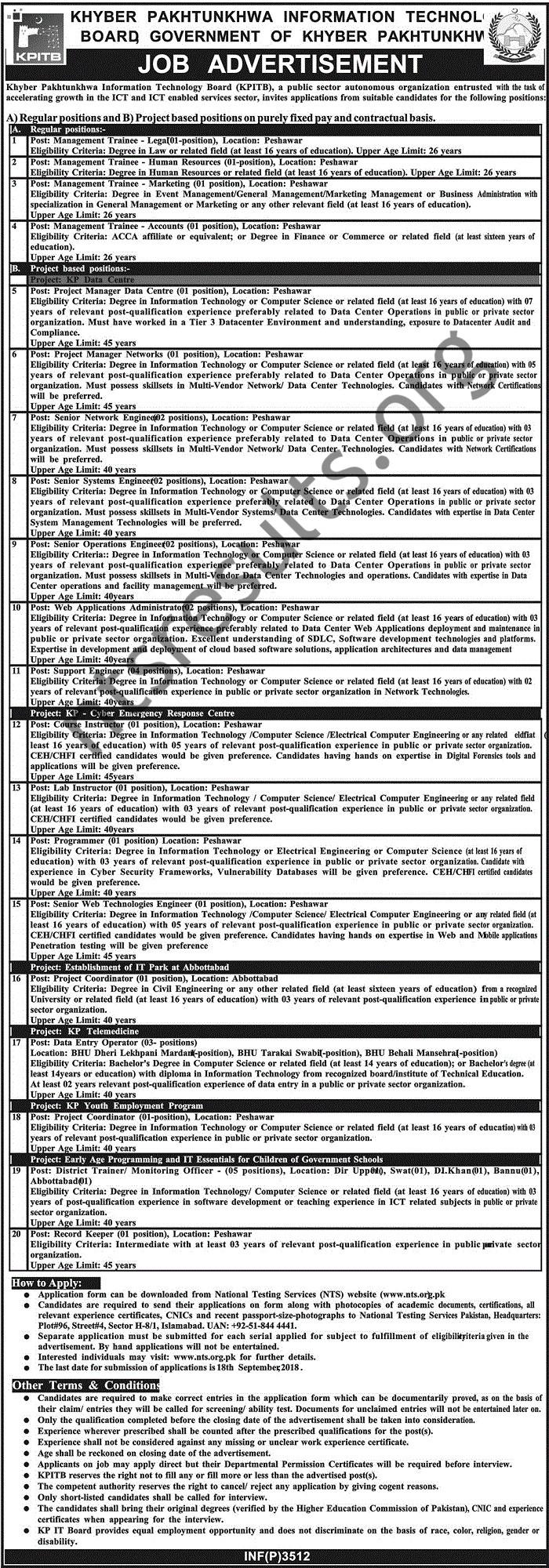 Khyber Pakhtunkhwa Information Technology Board Jobs Via NTS