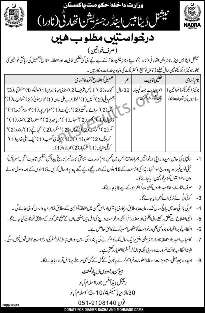 NADRA National Database and Registration Authority Punjab Jobs