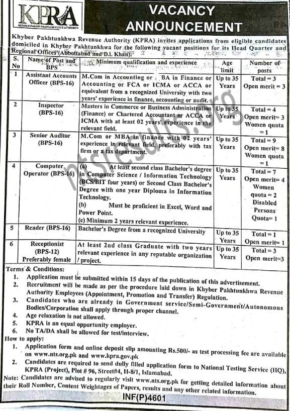 Khyber Pakhtunkhwa Revenue Authority KPRA BPS 12 BPS 16 Jobs Via NTS