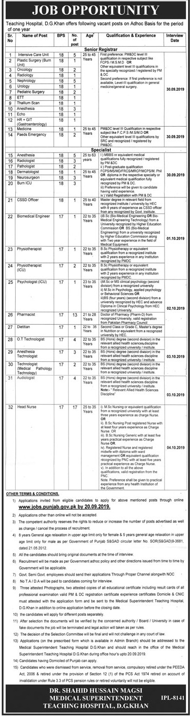 Teaching Hospital DHQ DG Khan Jobs