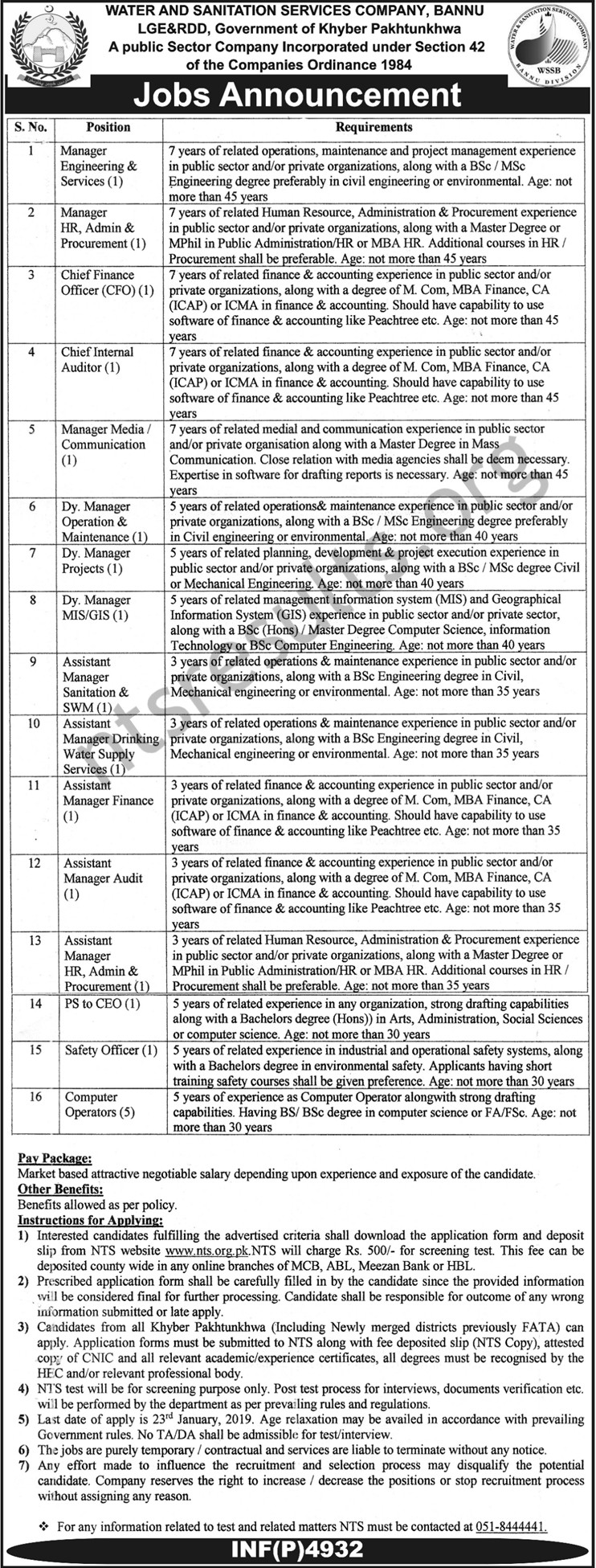 Water and Sanitation Services Company WSSCA Bannu Jobs Via NTS
