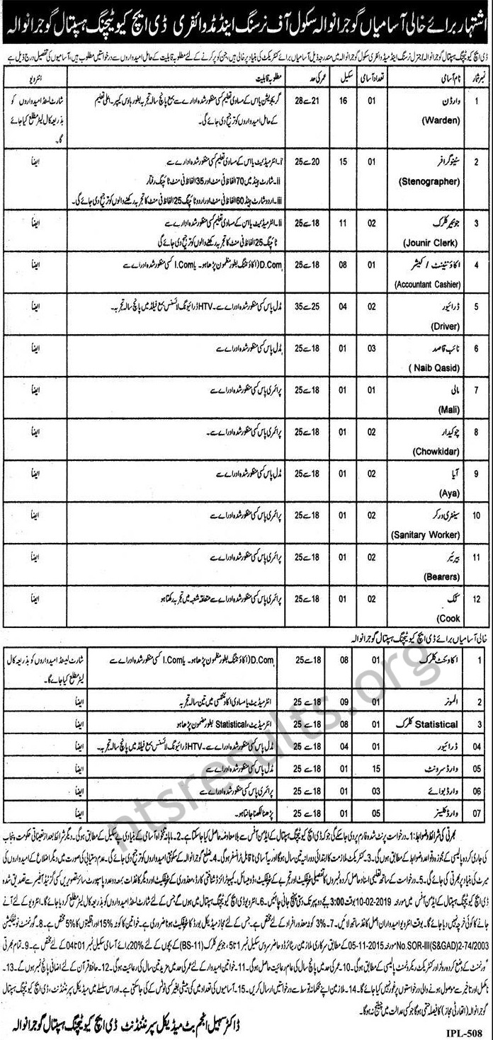 DHQ Teaching Hospital Gujranwala School Of Nursing and Midwifery Jobs