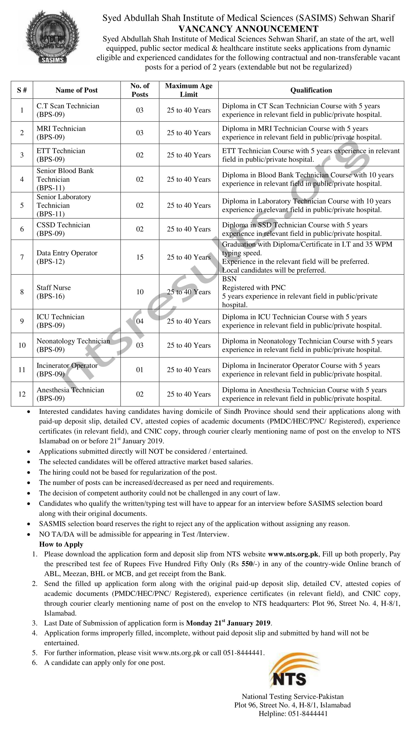 Syed Abdullah Shah Institute of Medical Sciences SASIMS Sehwan Sharif Jobs Via NTS